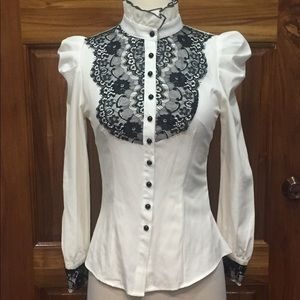 Tops - SALE 3 for $30 Victorian Shirt with Lace Accents